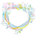 Vector round frame with ornate Snowdrop flowers or Galanthus in pastel colors isolated on white back. Outline floral elements. Royalty Free Stock Photo