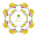 Vector round frames with carambola and flower