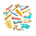 Vector round isolated shoes composition