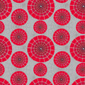 Vector round red seamless pattern on a gray background Royalty Free Stock Images