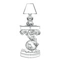 Vector Royal lamp and comode table with Acanthus ornament