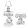 Vector Royal lamp and comode table with Acanthus ornament pedestal