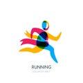 Vector running human logo, emblem or icon design element. Sport man with ribbon of winner overlapping illustration.