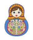 Vector russian folk ornamental matrioshka doll. Hand drawn zentangle with floral and ethnic ornaments Royalty Free Stock Photo