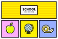 Vector 80's or 90's Stylish School Education Icon Set with Retro