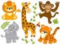 Vector Safari Animals Royalty Free Stock Photo