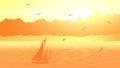 Vector sailboat against orange sunset. Royalty Free Stock Photo