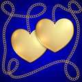 Vector saint valentine greeting card with two golden hearts and chain Royalty Free Stock Image