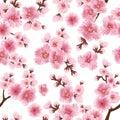 Vector sakura flower seamless pattern element. Elegant cherry blossom texture for backgrounds.
