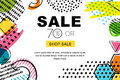 Vector sale banner, poster background. Abstract doodle texture and geometric shapes on white background.