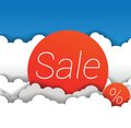 Vector sale sign in clouds Royalty Free Stock Photography