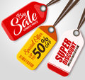 Vector Sale Tags Set with Different Colors Hanging in White Background Royalty Free Stock Photo