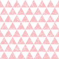Vector salmon pink triangles and leaves texture seamless repeat pattern background. Perfect for modern fabric, wallpaper Royalty Free Stock Photo