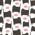 Vector sameless cat pattern. Royalty Free Stock Photo