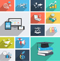 Vector sammlung moderne flache ikonen mit langem schatten gestaltungselemente für mobile und web anwendungen Stockbilder
