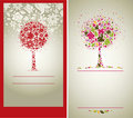 Vector sample of design with tree from flowers Royalty Free Stock Photography