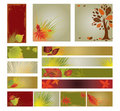 Vector samples of web-design (banners) with tree. Stock Image