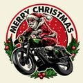 Santa claus riding motorcycle badge Royalty Free Stock Photo