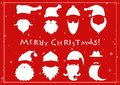 Santa hats, moustache and beards. Christmas elements for greetin Royalty Free Stock Photo