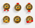 Vector 100% Satisfaction Gold Label Set with Red Royalty Free Stock Photo