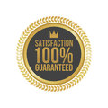 Vector Satisfaction Guaranteed Gold Sign, Round Label Royalty Free Stock Photo