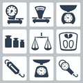 Vector scales balance icons set isolated Royalty Free Stock Photos