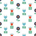 Vector Scandinavian folk art seamless pattern background, floral navy blue repetitive design, Nordic ornament with