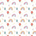 Vector scandinavian seamless pattern clouds, rain, sun and rainbow. Cute simple doodle background for children room