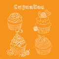 Vector scetch cupcake. Orange background