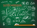 Vector school blackboard illustration full of chalk doodles Stock Photography