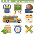 Vector school icons set isolated on white background Stock Photos