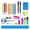 Vector school and office supplies icon set Royalty Free Stock Photo