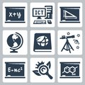 Vector school subjects icons set algebra ict and geometry geography ecology astronomy and physics biology chemistry Royalty Free Stock Images