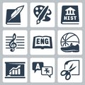 Vector school subjects icons set literature art history music english pe economics foreign languages crafts and Stock Image