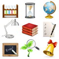 Vector school subjects icons on white background Stock Images