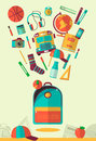 Vector school workspace illustration. Education and school icons set. Flat style, long shadows. High school object, college items. Royalty Free Stock Photo