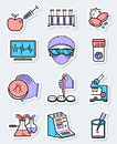 Vector science and genetic laboratory icons set in thin simple l Royalty Free Stock Photo