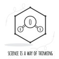 Vector science quote decorated water molecule icon on hexagon