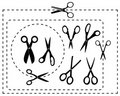 Vector scissors and coupon border lines Royalty Free Stock Photography