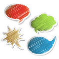 Vector scratch speech bubble stickers Stock Images