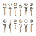 Vector screws nails and wall plugs icon collection. Nuts line set. Constructor elements illustration. Repair bolt