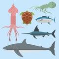 Vector sea animals creatures characters cartoon ocean underwater aquarium life water graphic aquatic tropical beasts Royalty Free Stock Photo