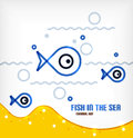 Vector sea and fish line art background
