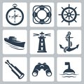 Vector sea icons set compass and ring buoy steering wheel ship lighthouse anchor spyglass binoculars and buoy Stock Images