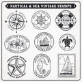Vector sea journey vintage stamps 2 Royalty Free Stock Photo