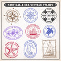Vector sea journey vintage stamps Royalty Free Stock Photo