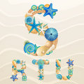 Vector sea life font on sand background Stock Photo