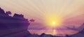 Vector   sea scene sun set. Royalty Free Stock Photo