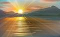 Vector   sea scene sunset. Royalty Free Stock Photo