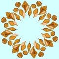 Vector sea shells ring. Summer illustration Royalty Free Stock Photo